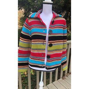 Liz Claiborne Knit Multicolor Cardigan Sweater